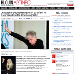 CHRISTOPHER DOYLE RAILS AGAINST LIFE OF PI CINEMATOGRAPHY AWARD